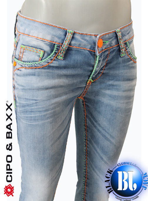 sexy cipo baxx damen designer neon n hte jeans blau w25 26 27 28 29 30 31 32 ebay. Black Bedroom Furniture Sets. Home Design Ideas