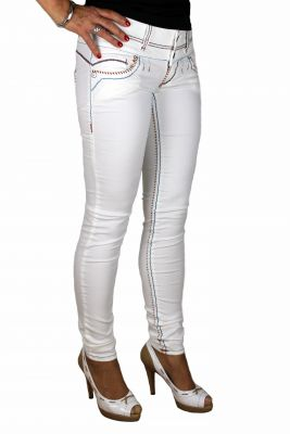 Cipo & Baxx Damen Jeans CBW-441 cremeweiß
