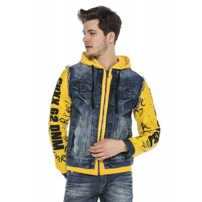 Cipo & Baxx Herren Jeans Kunstleder Jacke 242 Gelb