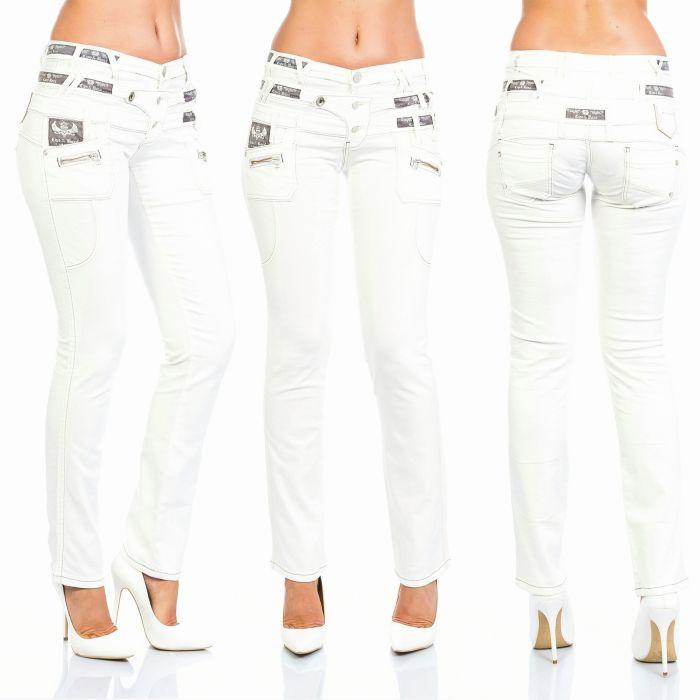 Cipo & Baxx Damen Jeans CBW-245 cremeweiß
