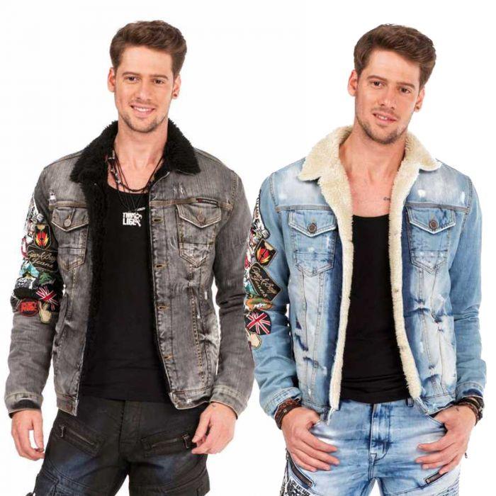 Cipo & Baxx Herren Jeans Jacke Crazy Patches