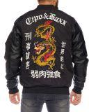 Cipo & Baxx Herren Bomber Jacke Tattoo Dragon schwarz