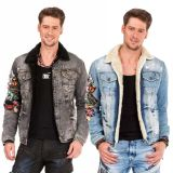 Cipo & Baxx Herren Jeans Jacke Crazy Patches